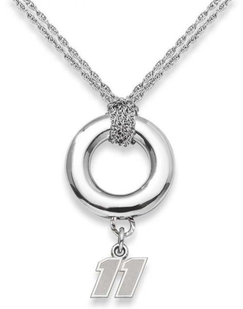 "Denny Hamlin #11 3/8"" Logo Sterling Silver Halo Necklace"