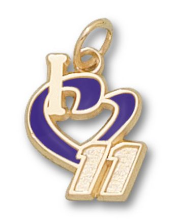 "Denny Hamlin 1/2"" ""I Heart 11"" Enamel Pendant - 10KT Gold Jewelry"