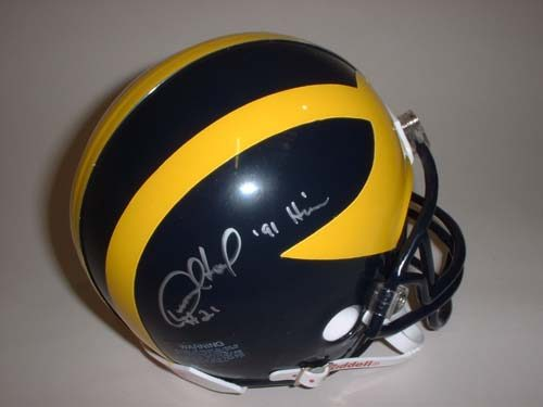"Desmond Howard Autographed Michigan Wolverines Riddell Mini Helmet with ""91 Heisman"" Inscription"