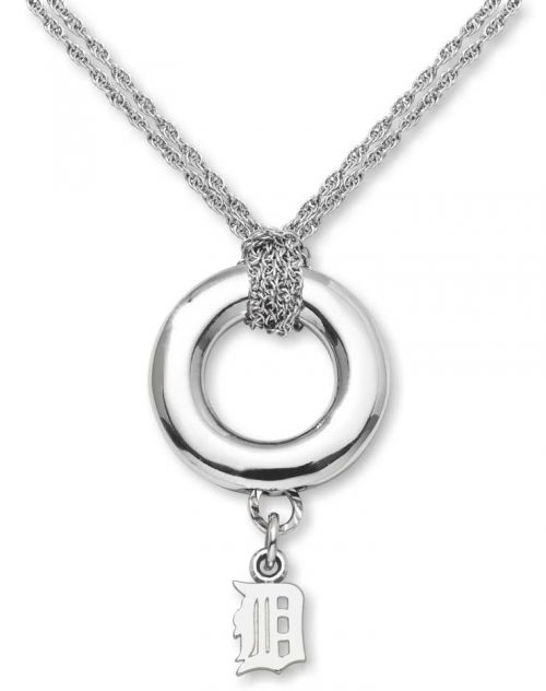 """Detroit Tigers 3/8"""" Logo Sterling Silver Halo Necklace"""