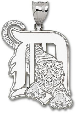 "Detroit Tigers Giant 1 3/8"" W x 1 3/4"" H ""D"" Pendant - Sterling Silver Jewelry"