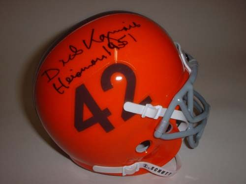 "Dick Kazmaier Autographed Princeton Tigers Schutt Mini Helmet with ""Heisman 1951"" Inscription"