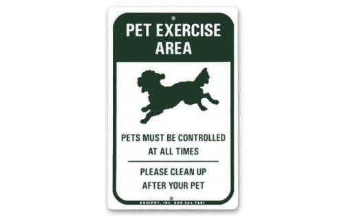 Dogipot 1204 Aluminum Pet Exercise Area Sign Green