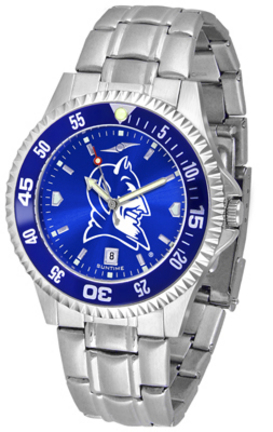 Duke Blue Devils Competitor AnoChrome Men's Watch with Steel Band and Colored Bezel