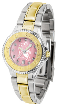 Duke Blue Devils Competitor Ladies Watch with Mother of Pearl Dial and Two-Tone Band