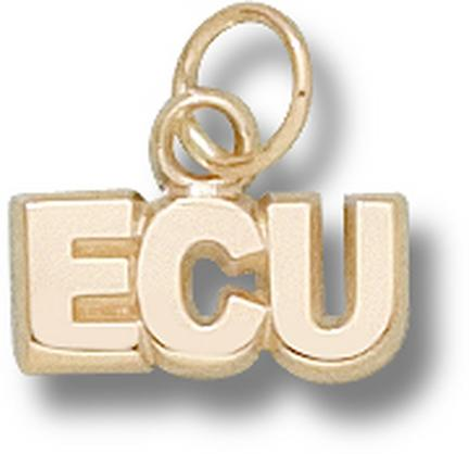 "East Carolina Pirates ""ECU"" 3/16"" Charm - 14KT Gold Jewelry"