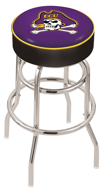 "East Carolina Pirates (L7C1) 25"" Tall Logo Bar Stool by Holland Bar Stool Company (with Double Ring Swivel Chrome Base)"