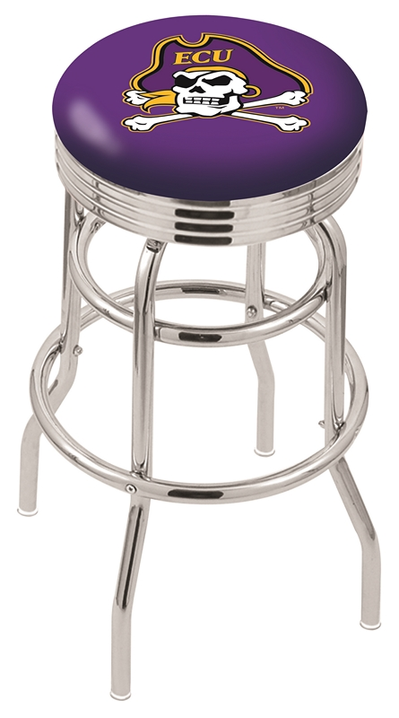 "East Carolina Pirates (L7C3C) 25"" Tall Logo Bar Stool by Holland Bar Stool Company (with Double Ring Swivel Chrome Base)"