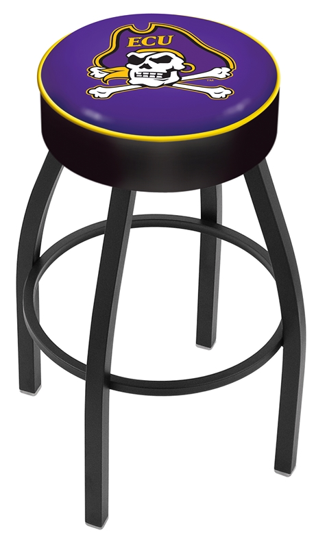 "East Carolina Pirates (L8B1) 25"" Tall Logo Bar Stool by Holland Bar Stool Company (with Single Ring Swivel Black Solid Welded Base)"