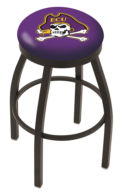 "East Carolina Pirates (L8B2B) 25"" Tall Logo Bar Stool by Holland Bar Stool Company (with Single Ring Swivel Black Solid Welded Base)"