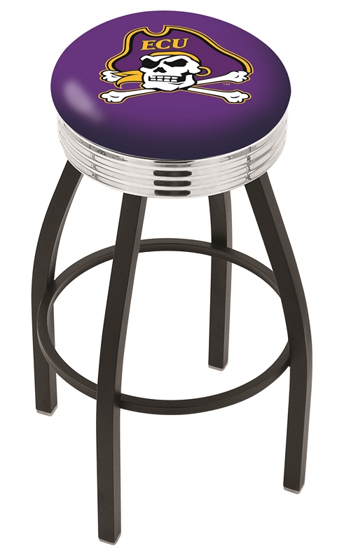 "East Carolina Pirates (L8B3C) 30"" Tall Logo Bar Stool by Holland Bar Stool Company (with Single Ring Swivel Black Solid Welded Base)"