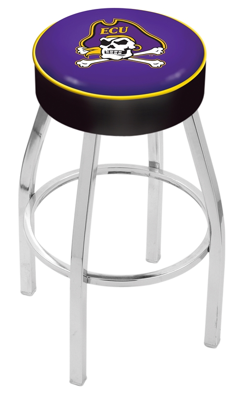 "East Carolina Pirates (L8C1) 25"" Tall Logo Bar Stool by Holland Bar Stool Company (with Single Ring Swivel Chrome Solid Welded Base)"