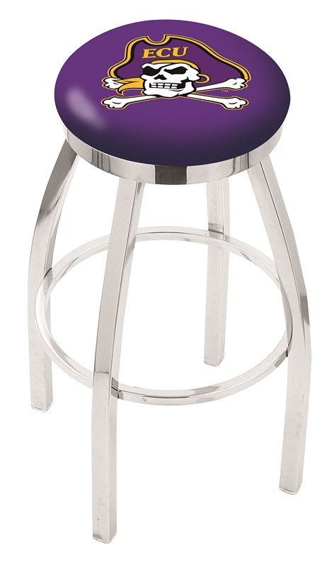 "East Carolina Pirates (L8C2C) 25"" Tall Logo Bar Stool by Holland Bar Stool Company (with Single Ring Swivel Chrome Solid Welded Base)"