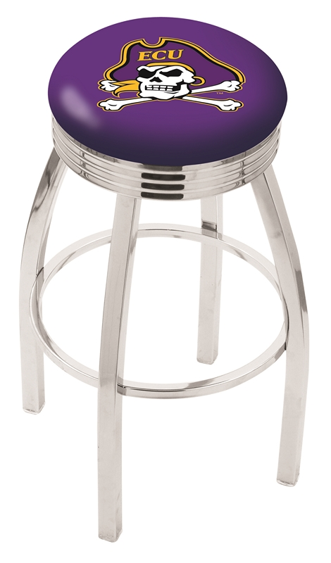 "East Carolina Pirates (L8C3C) 25"" Tall Logo Bar Stool by Holland Bar Stool Company (with Single Ring Swivel Chrome Solid Welded Base)"