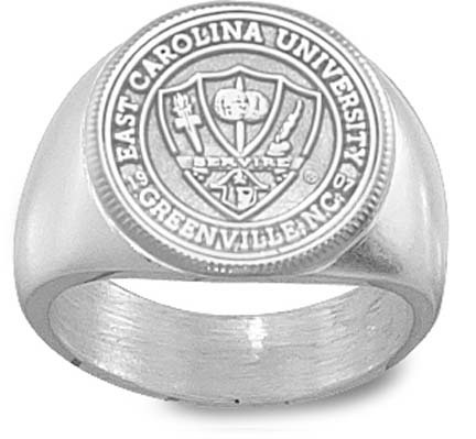 "East Carolina Pirates ""Seal"" Men's Ring Size 10 1/2 - Sterling Silver Jewelry"