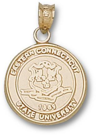"Eastern Connecticut State Warriors ""Seal"" 9/16"" Pendant - 10KT Gold Jewelry"