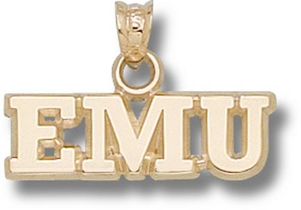 "Eastern Michigan Eagles ""EMU"" 1/4"" Pendant - 10KT Gold Jewelry"