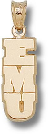"Eastern Michigan Eagles Vertical ""EMU"" Pendant - 10KT Gold Jewelry"