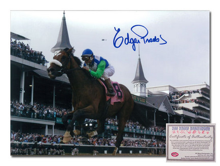 "Edgar Prado Barbaro Horse Racing Autographed ""2006 Kentucky Derby Side View"" 16"" x 20"" Photograph"
