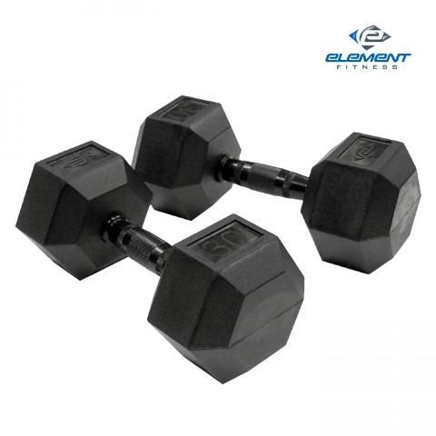 Element Fitness E-200-VRHEX-55 Virgin Rubber Commercial Hex Dumbbells Low Odor 55 lbs.