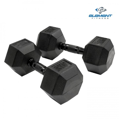 Element Fitness E-200-VRHEX-60 Virgin Rubber Commercial Hex Dumbbells Low Odor 60 lbs.