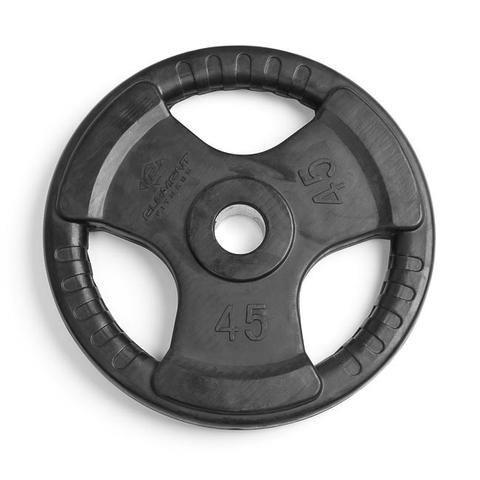 Element Fitness E-3765 2 in. Virgin Rubber Commercial Olympic 3 Grip Handle Plate - Black