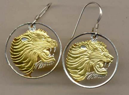 "Ethiopia 25 Cent ""Lion Head"" Two Toned Coin Cut Out Earrings"