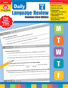Evan-Moor Educational Publishers 582 Daily Language Review Common Core Edition Grade 4