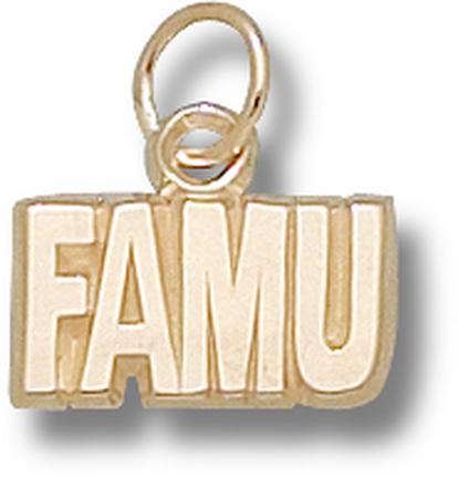 "Florida A & M Rattlers 1/4"" ""FAMU"" Charm - 10KT Gold Jewelry"