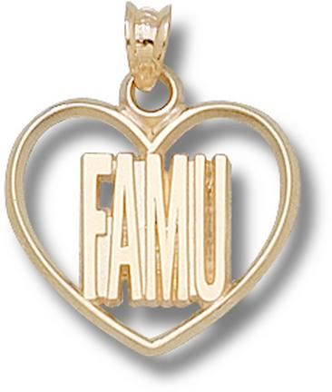 "Florida A & M Rattlers ""FAMU"" Heart Pendant - 10KT Gold Jewelry"