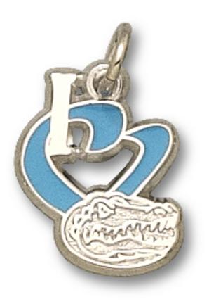 "Florida Gators 1/2"" ""I Heart Gator Head"" Enamel Charm - 10KT Gold Jewelry"