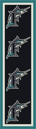 "Florida Marlins 2' 1"" x 7' 8"" Team Repeat Area Rug Runner"