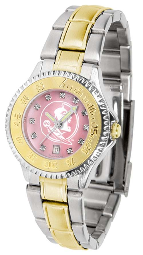 Florida State Seminoles Competitor Ladies Watch with Mother of Pearl Dial and Two-Tone Band