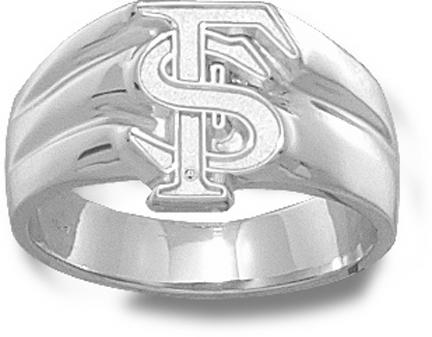 "Florida State Seminoles Interlock ""FS"" 1/2"" Men's Ring Size 11 1/2 - Sterling Silver Jewelry"