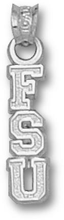 "Florida State Seminoles Vertical ""FSU"" Pendant - 14KT White Gold Jewelry"