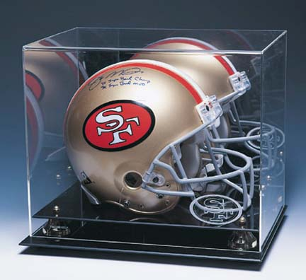 Football Helmet Display Case with Mirrored Back and Gold Risers