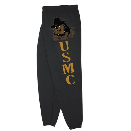 Fox Outdoor 64-7671 XXXL Mens United State Marines Corps With Bulldog One Sided imprint Sweatpant Black - 3 XL