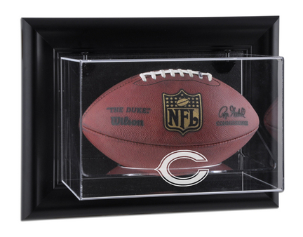 Framed Wall Mounted Football Display Case with Chicago Bears Logo