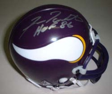 "Fran Tarkenton Autographed Minnesota Vikings Riddell Mini Helmet with ""HOF 86"" Inscription"