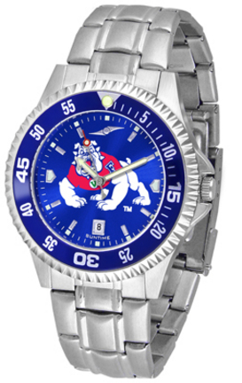 Fresno State Bulldogs Competitor AnoChrome Men's Watch with Steel Band and Colored Bezel