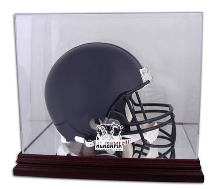 Full Size Football Helmet Display Case with Mahogany Finished Base and Alabama Crimson Tide Logo