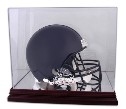 Full Size Football Helmet Display Case with Mahogany Finished Base and Florida Gators Logo