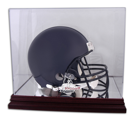 Full Size Football Helmet Display Case with Mahogany Finished Base and Louisville Cardinals Logo