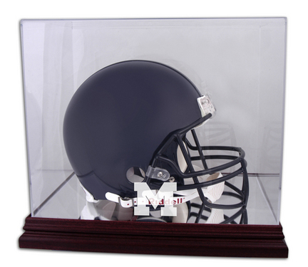 Full Size Football Helmet Display Case with Mahogany Finished Base and Michigan Wolverines Logo