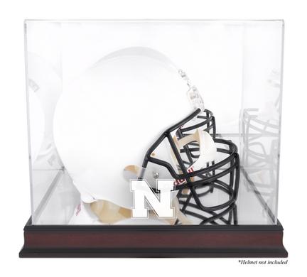 Full Size Football Helmet Display Case with Mahogany Finished Base and Nebraska Cornhuskers Logo