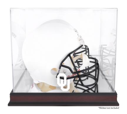 Full Size Football Helmet Display Case with Mahogany Finished Base and Oklahoma Sooners Logo