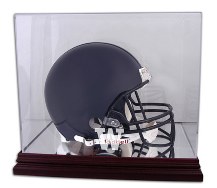 Full Size Football Helmet Display Case with Mahogany Finished Base and Washington Huskies Logo