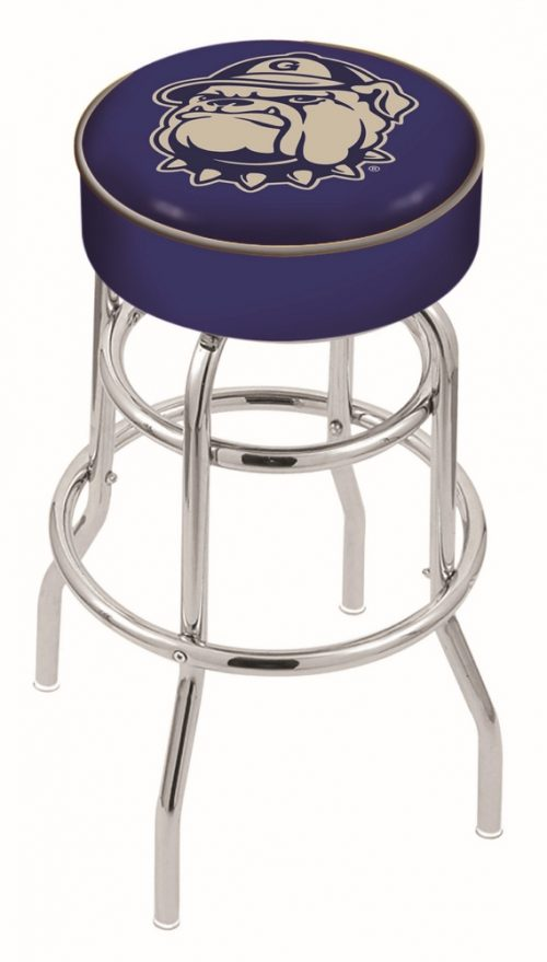 "Georgetown Hoyas (L7C1) 25"" Tall Logo Bar Stool by Holland Bar Stool Company (with Double Ring Swivel Chrome Base)"