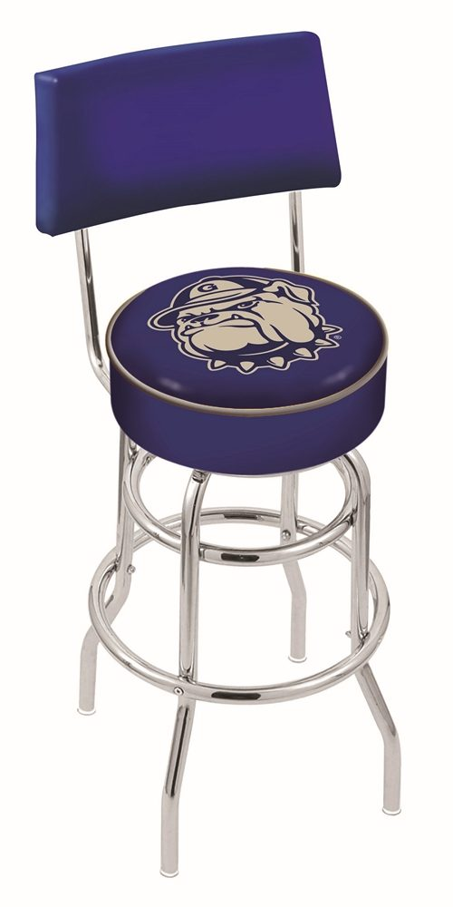 "Georgetown Hoyas (L7C4) 30"" Tall Logo Bar Stool by Holland Bar Stool Company (with Double Ring Swivel Chrome Base and Chair Seat Back)"