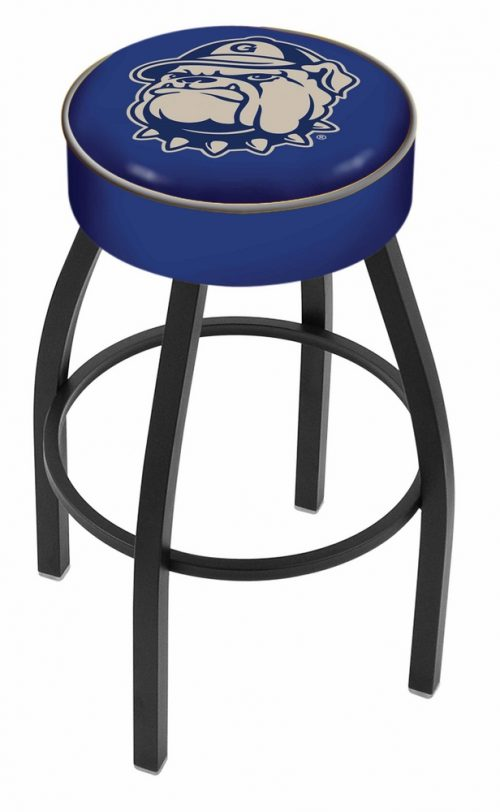 "Georgetown Hoyas (L8B1) 30"" Tall Logo Bar Stool by Holland Bar Stool Company (with Single Ring Swivel Black Solid Welded Base)"